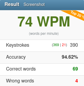 74wpm 2020 01 27 typing test english 10fastfingers com