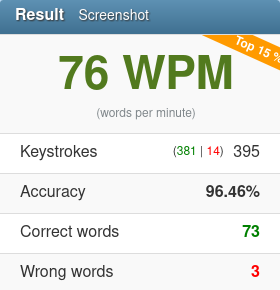 76 wpm screenshot 2020 01 12 typing test english 10fastfingers com