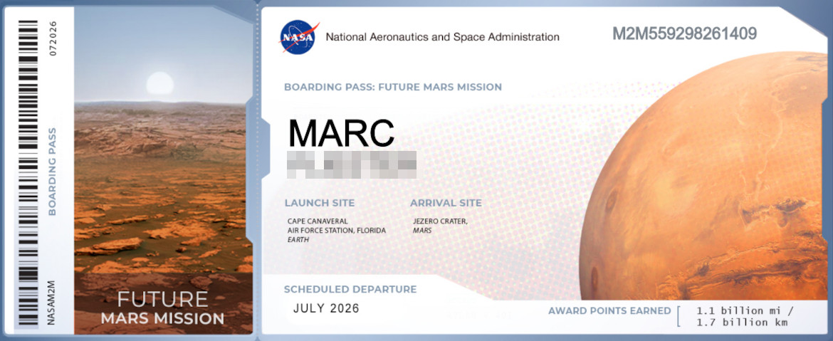 Nasa ticket naar Mars